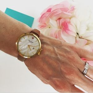 New Kate Spade Mother Of Pearl Tan Band Watch